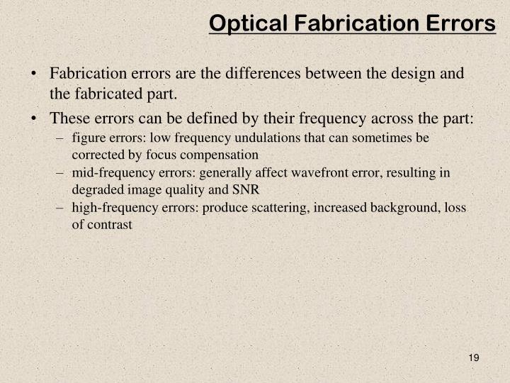 Optical Fabrication Errors