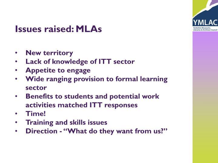 Issues raised: MLAs
