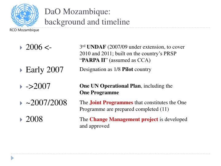 Dao mozambique background and timeline