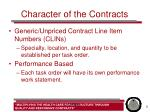 character of the contracts