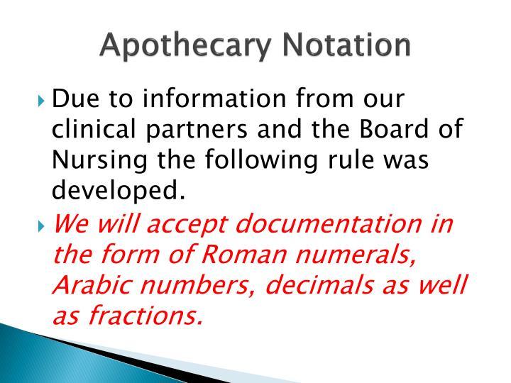 Apothecary Notation