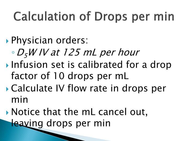 Calculation of Drops per min