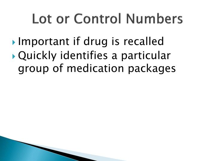Lot or Control Numbers