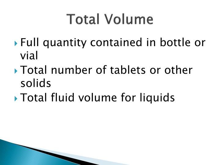 Total Volume