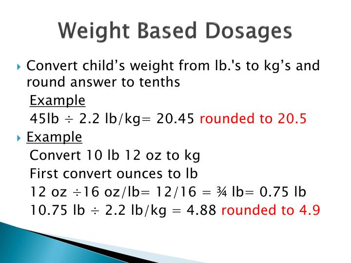Weight Based Dosages