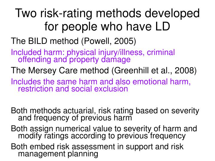 Two risk-rating methods developed for people who have LD