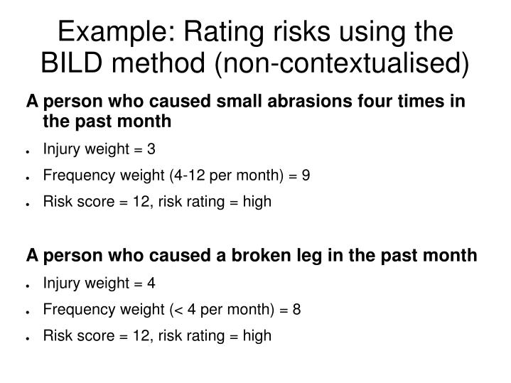 Example: Rating risks using the BILD method (non-contextualised)