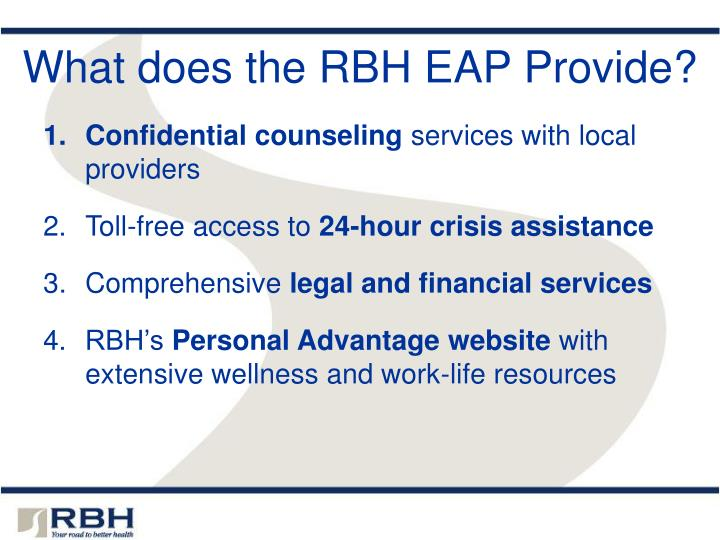 What does the rbh eap provide