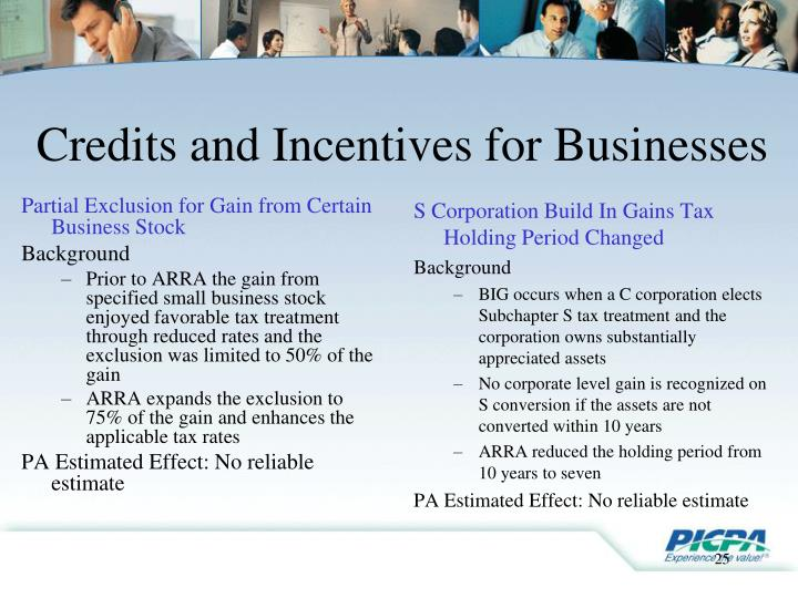 Credits and Incentives for Businesses
