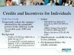 credits and incentives for individuals2