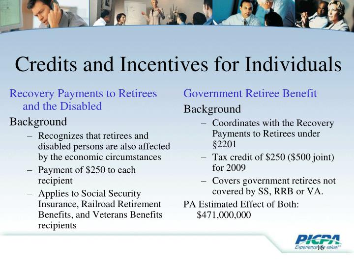 Recovery Payments to Retirees and the Disabled