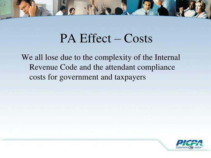 PA Effect – Costs