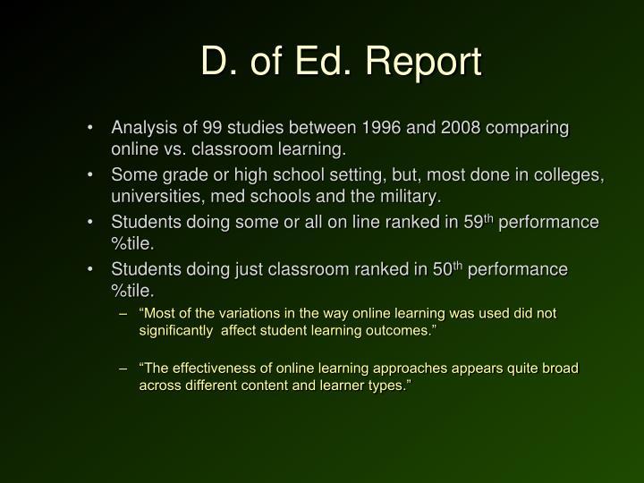 D. of Ed. Report