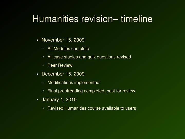 Humanities revision– timeline