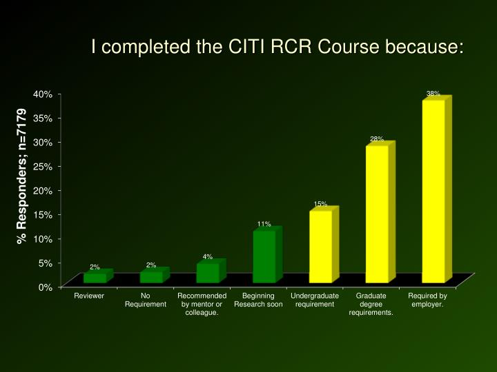 I completed the CITI RCR Course because: