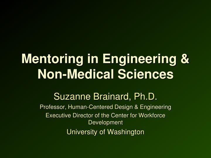 Mentoring in Engineering & Non-Medical Sciences