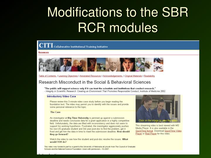 Modifications to the SBR RCR modules