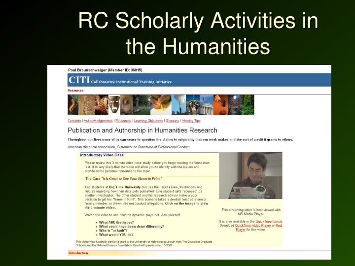 RC Scholarly Activities in the Humanities