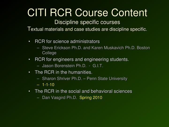 CITI RCR Course Content