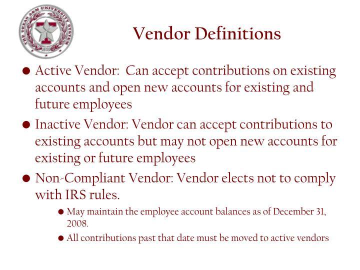 Vendor Definitions