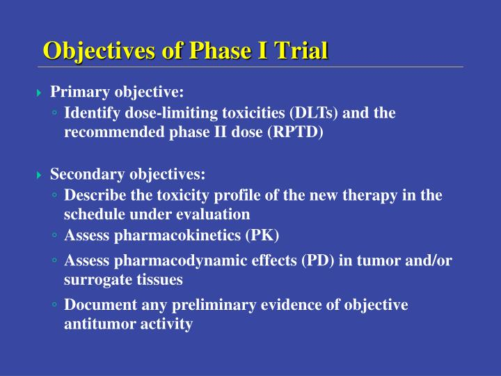 Objectives of Phase I Trial