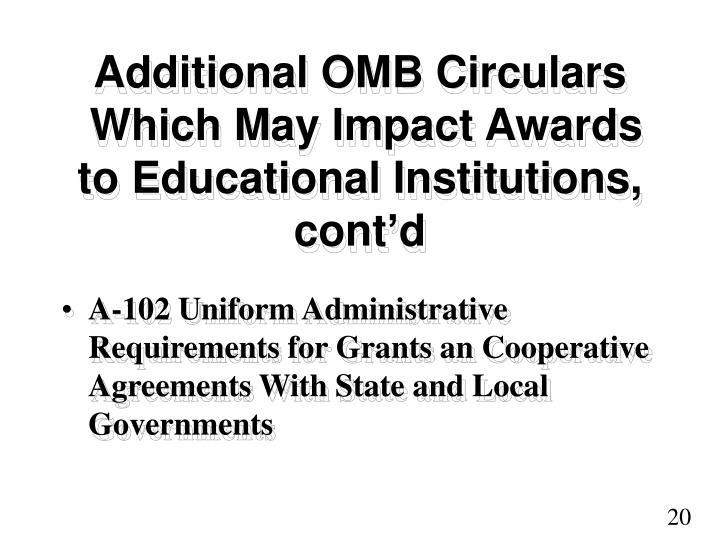 Additional OMB Circulars