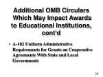 additional omb circulars which may impact awards to educational institutions cont d