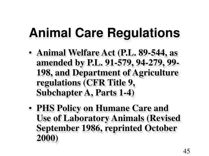 Animal Care Regulations