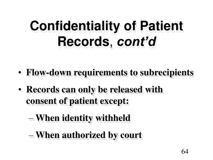 Confidentiality of Patient Records