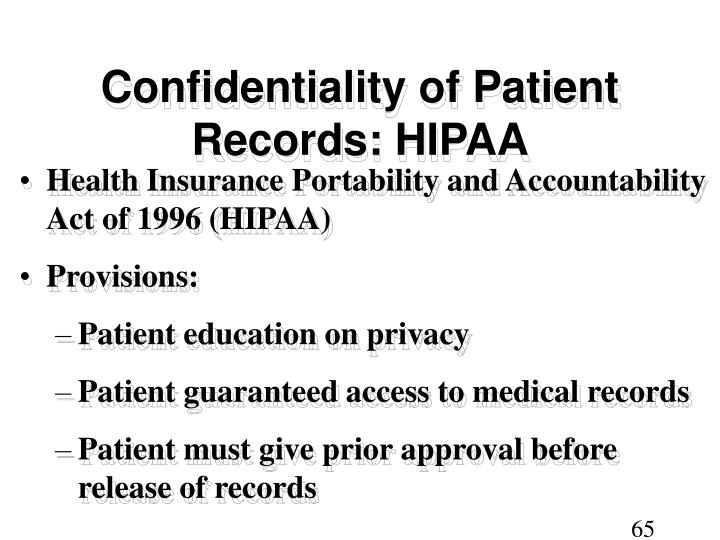 Confidentiality of Patient Records: HIPAA