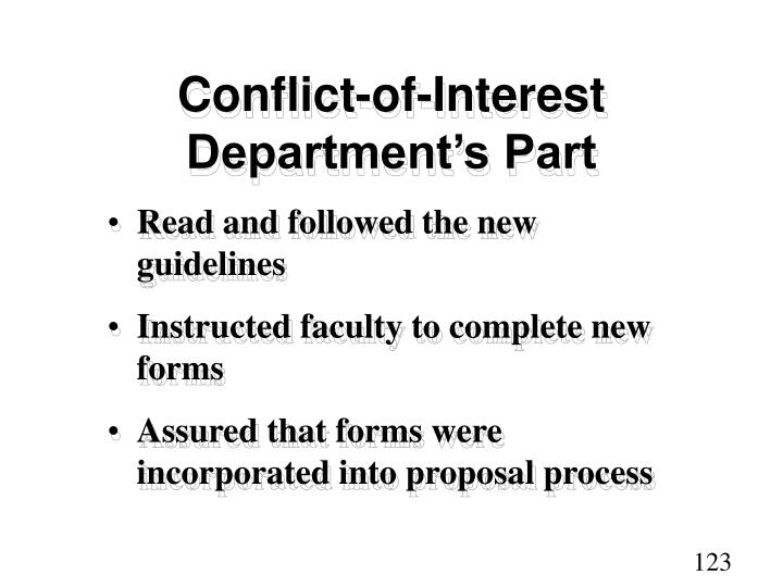Conflict-of-Interest  Department's Part