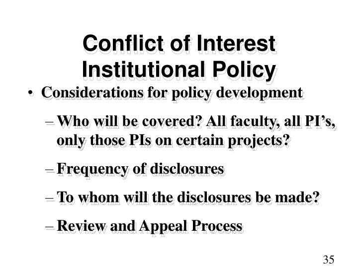Conflict of Interest Institutional Policy