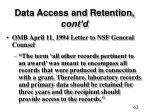 data access and retention cont d