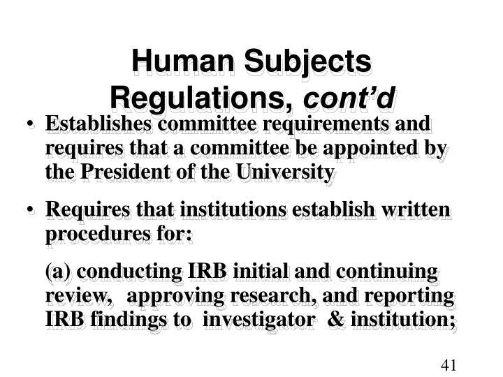 Human Subjects Regulations,