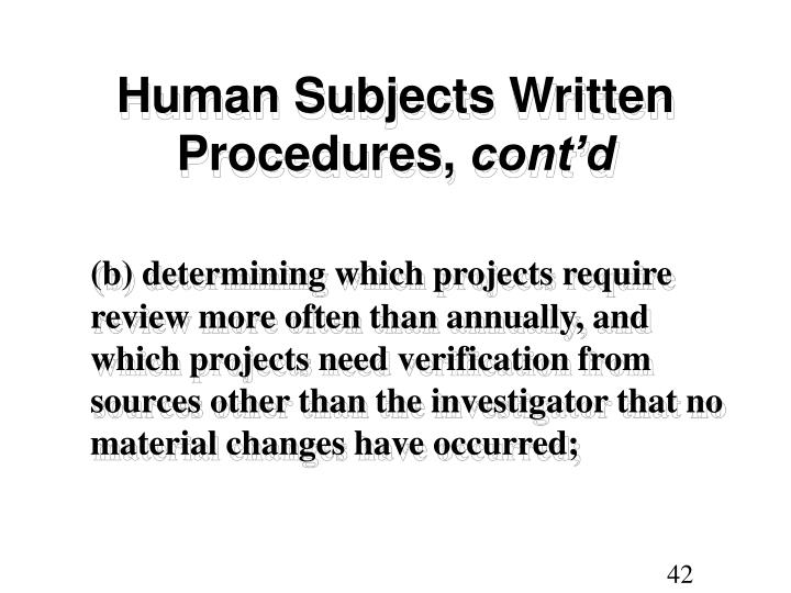 Human Subjects Written Procedures,