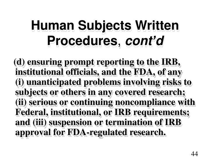 Human Subjects Written Procedures