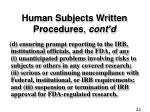 human subjects written procedures cont d2