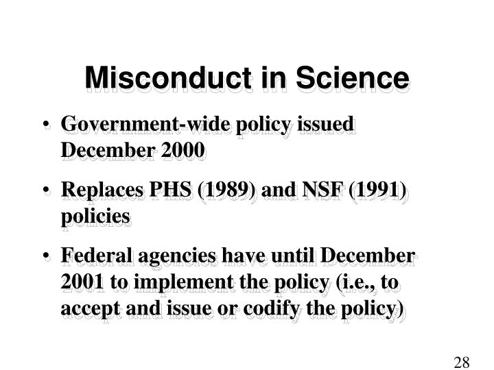 Misconduct in Science