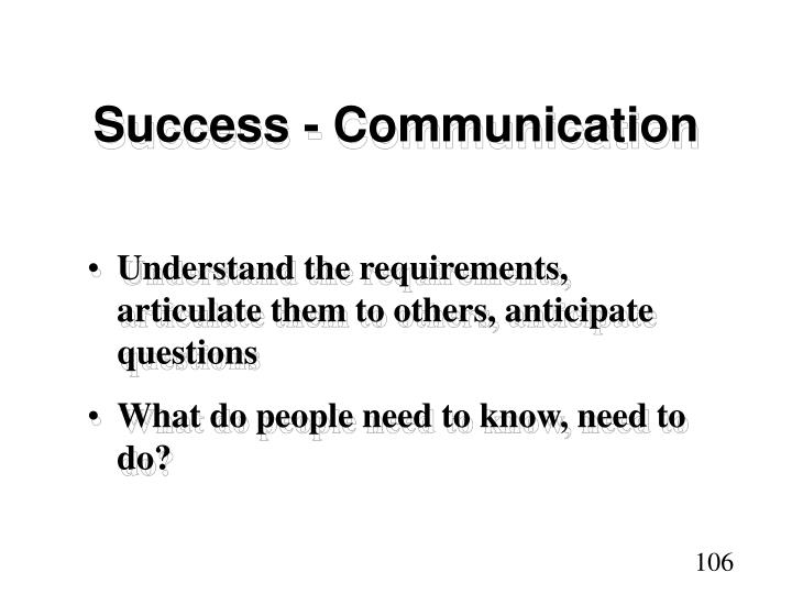 Success - Communication