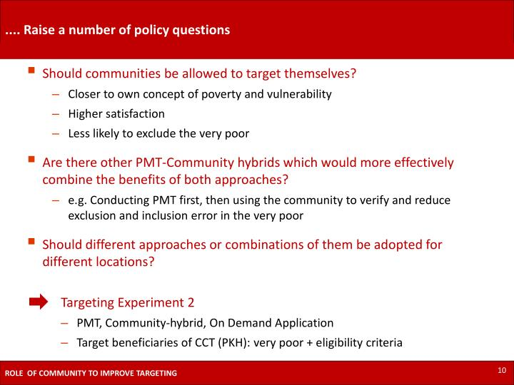 .... Raise a number of policy questions