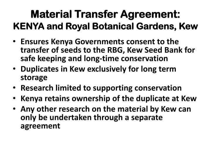 Material Transfer Agreement:
