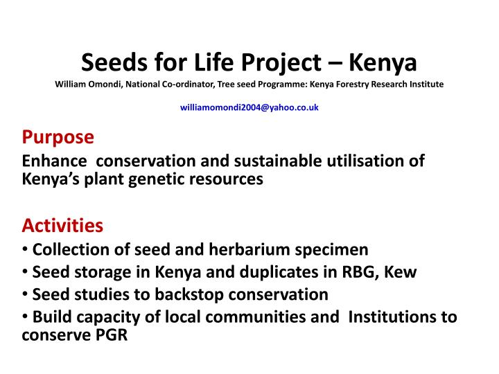 Seeds for Life Project – Kenya