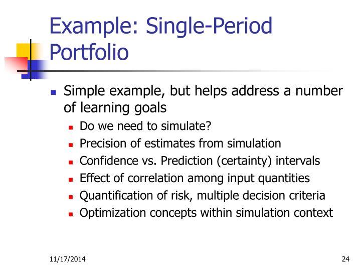 Example: Single-Period Portfolio
