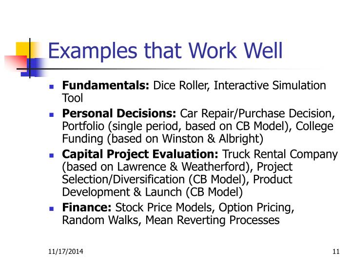 Examples that Work Well