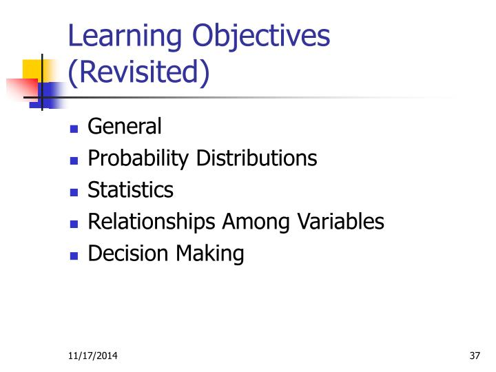 Learning Objectives (Revisited)