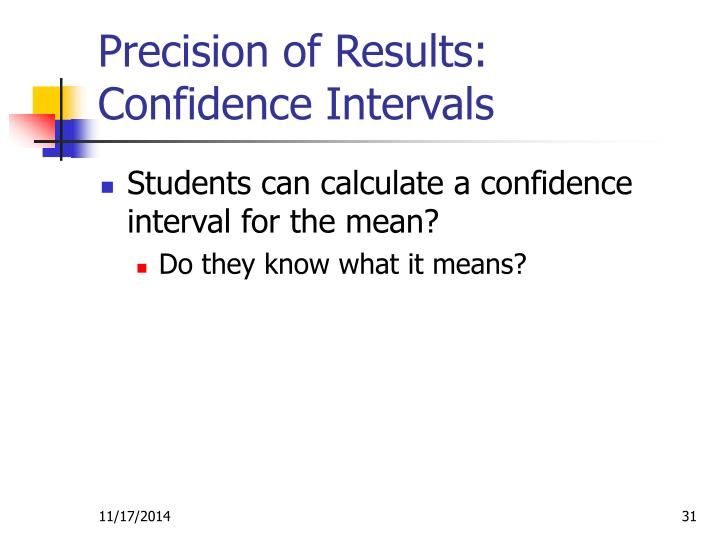 Precision of Results: Confidence Intervals