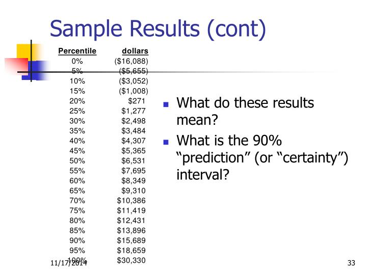 Sample Results (cont)