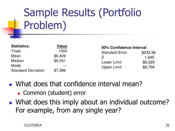 Sample Results (Portfolio Problem)