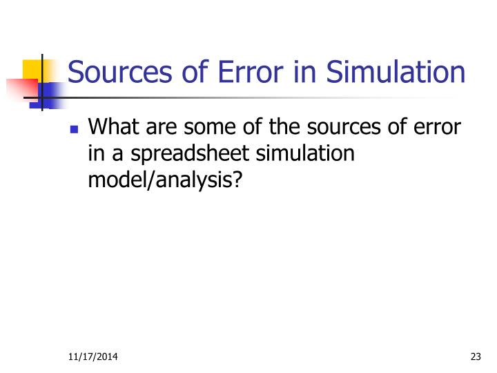 Sources of Error in Simulation