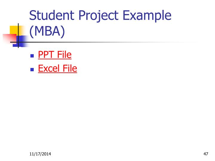 Student Project Example (MBA)